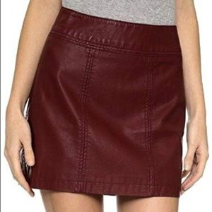 FREE PEOPLE vegan faux leather mini skirt red